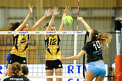 26-11-2015 SLO: Champions League Calcit Ljubljana - VakifBank Istanbul, Ljubljana<br /> Olivera Kostic of Calcit Ljubljana vs Robin De Kruijf of VakifBank Istanbul and Anne Buijs of VakifBank Istanbul <br /> <br /> ***NETHERLANDS ONLY***