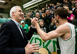 Miro Zupevc of Krka and Luka Lapornik of Krka celebrate after winning during basketball match between KK Krka and KK Petrol Olimpija in 22nd Round of ABA League 2018/19, on March 17, 2019, in Arena Leon Stukelj, Novo mesto, Slovenia. Photo by Vid Ponikvar / Sportida
