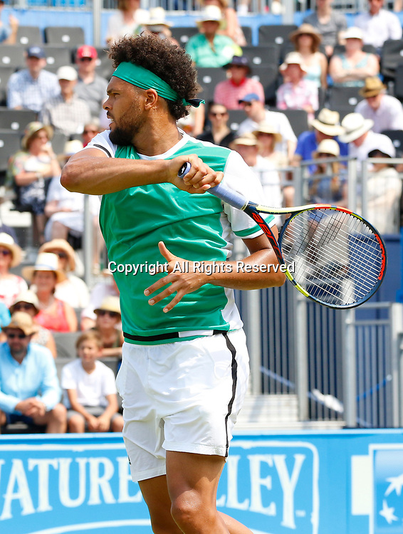 June 21st 2017, Queens Club, West Kensington, London; Aegon Tennis Championships, Day 3; Number five seed Jo-Wilfried Tsonga (FRA) hits a forehand during his second round defeat against Gilles Muller (LUX)