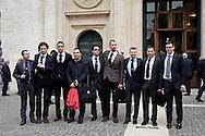 Roma 15 marzo 2013.Montecitorio l'arrivo dei parlamentari alla Camera dei Deputati per l' inizio della XVII legislatura..Un gruppo di deputati del M5S con la cravatta No Carbone