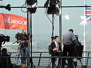 © Licensed to London News Pictures. 28/09/2011. LONDON, UK. David Miliband, Leader of the Labour Party takes part in a television interview  at The Labour Party Conference in Liverpool today (28/09/11). Photo credit:  Stephen Simpson/LNP