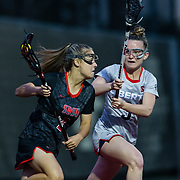 23 March 2018: San Diego State attacker Julia Sheehan brings the ball around the back of the net in the first half. The Aztecs beat the Lady Flames 11-10 Friday night. <br /> More game action at sdsuaztecphotos.com