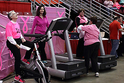 05 February 2016: Fans on stationary bikes and treadmills keep them going in an effort to raise money.  Each participant exercises in support of or in memory of a person who was affected by breast cancer. Illinois State University Women's Redbird Basketball team hosted the Sycamores of Indiana State for a Play4 Kay game at Redbird Arena in Normal Illinois.