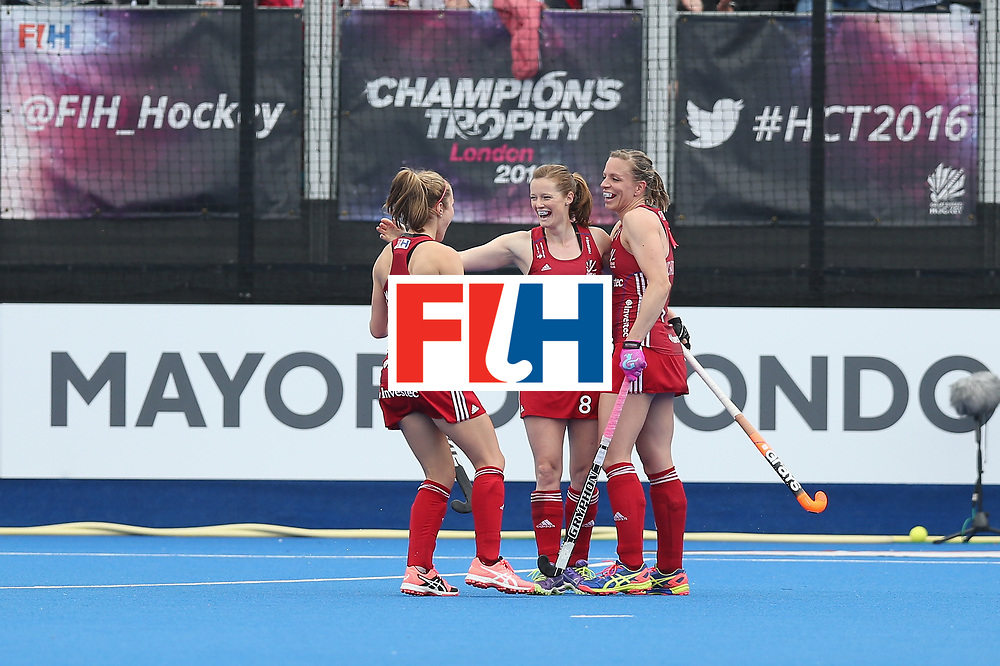 LONDON, ENGLAND - JUNE 18:  Helen Richardson-Walsh of Great Britain celebrates after scoring their second goal during the FIH Women's Hockey Champions Trophy match between Argentina and Great Britain at Queen Elizabeth Olympic Park on June 18, 2016 in London, England.  (Photo by Alex Morton/Getty Images)
