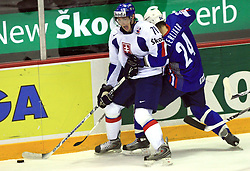 Juraj Mikus of Slovakia and Anze Terlikar of Slovenia at ice-hockey game Slovenia vs Slovakia at Relegation  Round (group G) of IIHF WC 2008 in Halifax, on May 09, 2008 in Metro Center, Halifax, Nova Scotia, Canada. Slovakia won 5:1. (Photo by Vid Ponikvar / Sportal Images)
