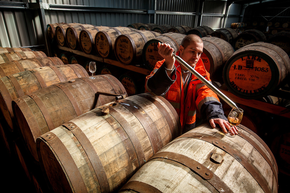 Lark Distillery master distiller Chris Thompson samples whisky at Lark Distillery in Hobart, Tasmania, August 25, 2015. Gary He/DRAMBOX MEDIA LIBRARY