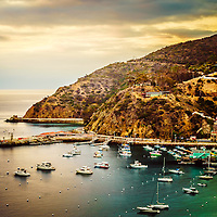 Catalina Island sunrise picture with the Pacific Ocean and mountains. Catalina Island is a popular destination off the coast of Southern California in the United States.