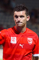 Clement Depres during the Ligue 2 match between Nimes and Laval on 29th July, 2016<br /> Photo : Alexandre Dimou / Icon Sport