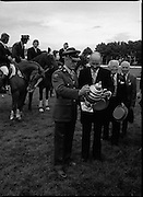 Aga Khan Trophy..1979..10.08.1979..08.10.1979..10th August 1979..The annual staging of the Aga Khan Cup took place  at the Royal Dublin Showgrounds, Ballsbridge,Dublin today.It was the first time since 1937 that Ireland won the trophy outright. The winning Irish team comprised of Paul Darragh,Capt Con Power,James Kernan and Eddie Macken..Col Ringrose and President,Dr Patrick Hillery are pictured admiring the Aga Khan Cup.