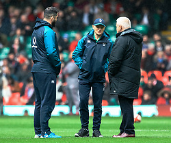 Head Coach Joe Schmidt of Ireland with Head Coach Warren Gatland of Wales during the pre match warm up<br /> <br /> Photographer Simon King/Replay Images<br /> <br /> Six Nations Round 5 - Wales v Ireland - Saturday 16th March 2019 - Principality Stadium - Cardiff<br /> <br /> World Copyright © Replay Images . All rights reserved. info@replayimages.co.uk - http://replayimages.co.uk