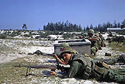Battle of Hamo Village during the Tet Offensive, Vetnam war. US Marines and ARVN troops defend a position against enemy attack. 1968