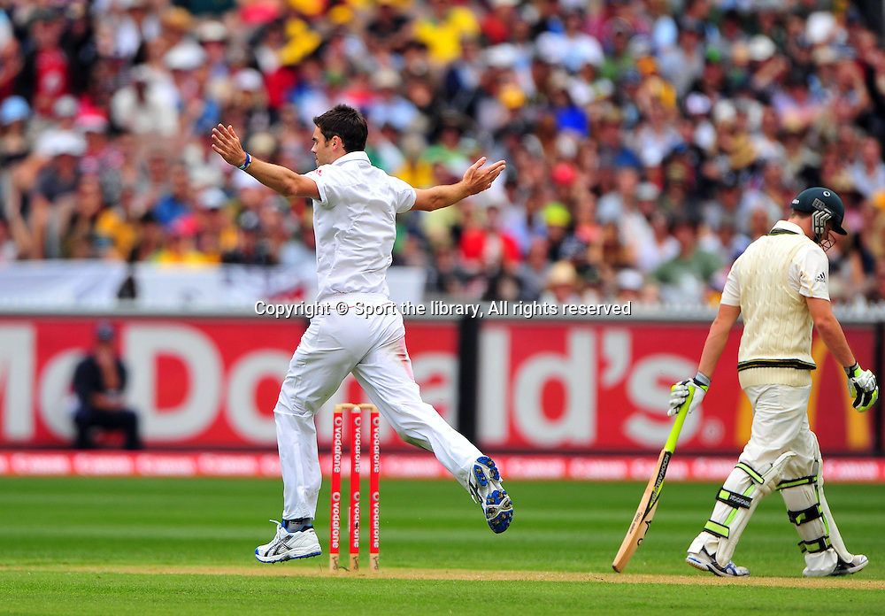James Anderson (ENG) celebrates<br /> the wicket of Steve Smith (AUS)<br /> Australia vs England<br /> Cricket - Ashes Test 3 / Melbourne<br /> Melbourne Cricket Ground / MCG<br /> Sunday 26 December 2010<br /> &copy; Sport the library/Jeff Crow