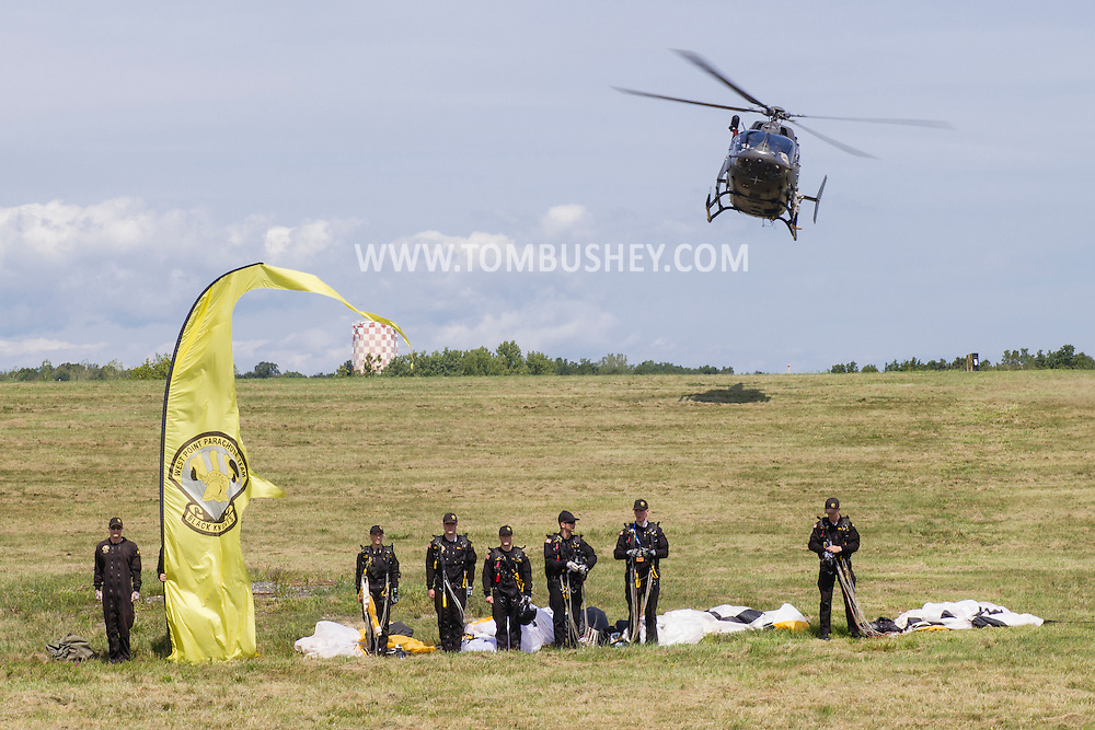 New Windsor, New York - The Black Knights West Point Parachute Team at the New York Air Show at Stewart International Airport on Aug. 29, 2015. The all-cadet team provides freefall demonstrations in support of Army athletics and also performs in competitions.