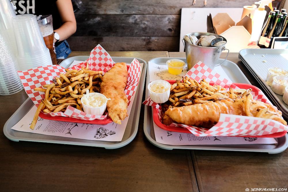 Seafood tray at a local restaurant in Lunenburg, Nova Scotia, Canada.