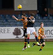 Dundee&rsquo;s Sam Dryden and Alloa Athletic's Kris Renton batle for the ball in the air  - Dundee under 20s v Alloa Athletic in the Irn Bru Cup Round 1 at Dens Park, Dundee - photograph by David Young<br /> <br />  - &copy; David Young - www.davidyoungphoto.co.uk - email: davidyoungphoto@gmail.com