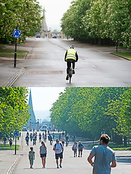 ©Licensed to London News Pictures 28/04/2020  <br /> Greenwich, UK. Comparison images of Greenwich park, Greenwich, London. People stay indoors on coronavirus lockdown today because of the cold wet weather (28/04/2020) and people out and about on Good Friday (10/04/2020) enjoying the warm sun. Photo credit:Grant Falvey/LNP