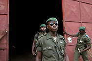 Members of a Congolese Armed Forces (FARDC) intervention brigade at a depot containing weapons and ammunition stockpiles  in Equateur province. <br /> Gbadolite, DR Congo. 16/03/2009<br /> Photo &copy; J.B. Russell