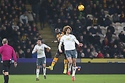 Marouane Fellaini Midfielder of Manchester United jumps for header during the EFL Cup semi final match 2 between Hull City and Manchester United at the KCOM Stadium, Kingston upon Hull, England on 26 January 2017. Photo by Phil Duncan.