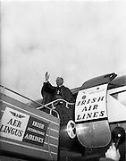 19/03/1961<br /> 03/19/1961<br /> 19 March 1961<br /> Papal Legate Cardinal James Francis McIntyre from Los Angeles departing from Dublin Airport having been in Ireland for the Patrician year celebrations that were held to commemorate 1,500 years of devotion to St Patrick in Ireland.