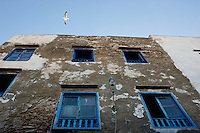 A seagull soars above blue painted, weather worn windows in the town of Essaouira on the Atlantic coastal town in Morocco.