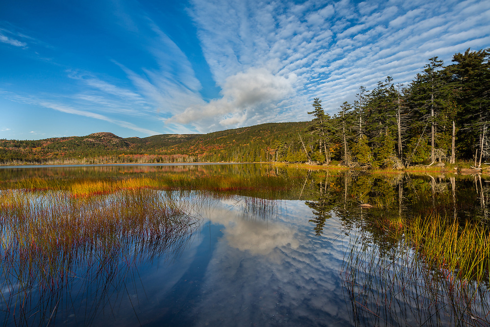 Autumn reflection on Upper Hadlock Pond in Acadia National Park, Maine