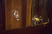 BULLET HOLES IN  RESTAURANTS ' CAMBODIA ' AND ' THE CARILLON ' - 24H AFTER ATTACKS OF PARIS 129 DEAD AND OVER 350 injured.<br /> ©Exclusivepix Media
