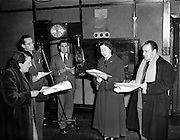 "'The Foley Family' Radio Eireann, Leo Leydon, Pegg Monahan, David Hayes and Florence Lynch.16/12/1952..""The Foley Family"" was a light comedy drama series written by David Hayes. The main actors George Green as Tom Foley and Peg Monahan as Alice, his wife. They also had a son and a daughter"