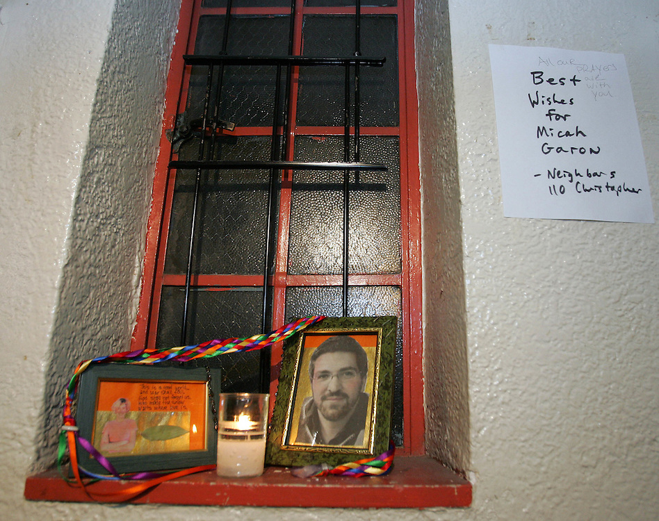 A memorial in the New York City apartment building in of Micah Garen an American Reporter who is being held by Iraqi militants on 20 August 2004 EPA/ANDREW GOMBERT