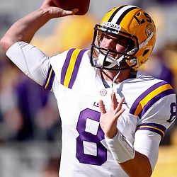 November 17, 2012; Baton Rouge, LA, USA  LSU Tigers quarterback Zach Mettenberger (8) against the Ole Miss Rebels during a game at Tiger Stadium. LSU defeated Ole Miss 41-35. Mandatory Credit: Derick E. Hingle-US PRESSWIRE
