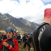 Archie Ritchie (left) prepares for the Junior race during the Active Q T Ultimate Tri Series Jack's Point Triathlon, Jack's Point,  Queenstown, Otago, New Zealand. 14th January 2012. Photo Tim Clayton