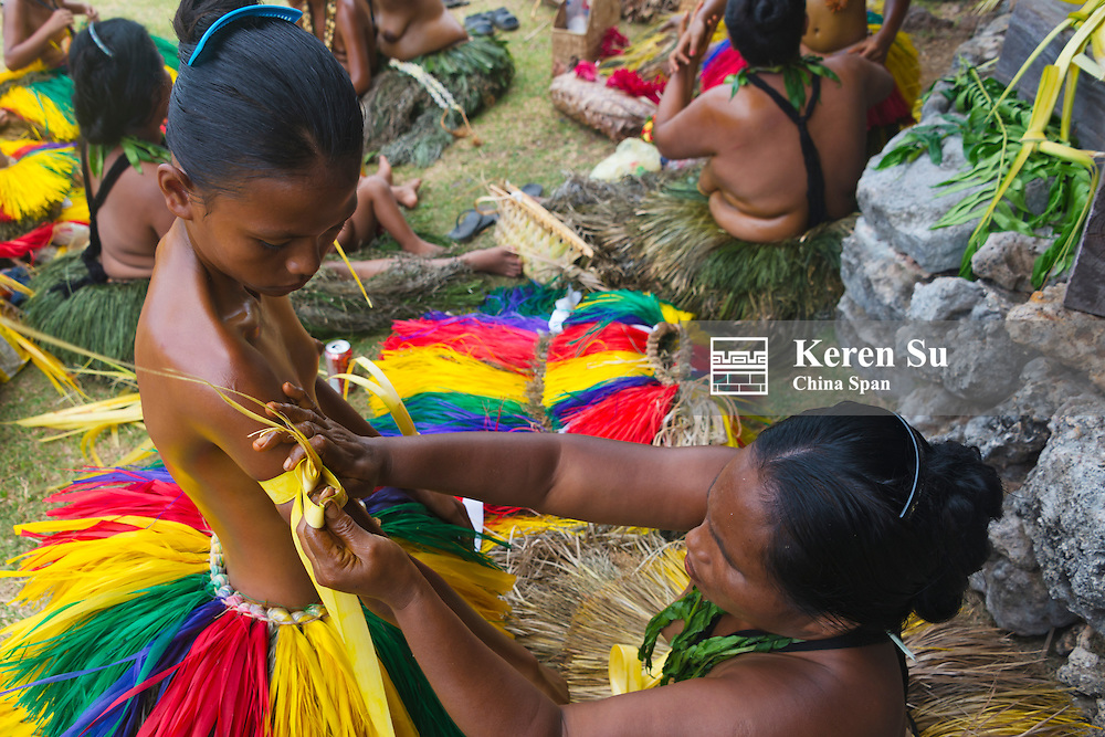 Yapese people preparing at Yap Day Festival, Yap Island, Federated States of Micronesia