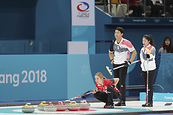February 11, 2018 - Gangneung, GANGWON, SOUTH KOREA - Feb 11, 2018-Gangneung, South Korea-Lee Ki Jeong, Jang Hye Ji of South Korea and Kaitlyn Lawes of Canada action during the 2018 Pyeongchang Winter Olympic Curling Mix Double Session 7th D Korea v Canada at Curling Center in Gangneung, South Korea. (Credit Image: © Gmc via ZUMA Wire)