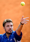 Stanislas Wawrinka of Switzerland competes in men's singles in the third round while Day Seventh during The French Open 2013 at Roland Garros Tennis Club in Paris, France.<br /> <br /> France, Paris, June 01, 2013<br /> <br /> Picture also available in RAW (NEF) or TIFF format on special request.<br /> <br /> For editorial use only. Any commercial or promotional use requires permission.<br /> <br /> Mandatory credit:<br /> Photo by &copy; Adam Nurkiewicz / Mediasport