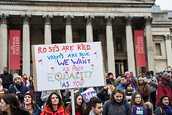London, UK. 19th January, 2019. Thousands of women attend the Bread & Roses Rally Against Austerity in Trafalgar Square organised by Women's March London to coincide with the Global Women's March. Inspired by the 1912 Bread & Roses protests which revolutionised workers' rights for women and in the light of Brexit, the organisers called for assurances from the Government in ending policies of austerity which lead to economic oppression, violence against women, the gender pay gap, racism, fascism, institutional sexual harassment and the hostile environment experienced by marginalised groups.