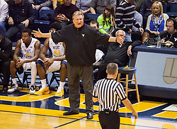 Jan 20, 2016; Morgantown, WV, USA; West Virginia Mountaineers head coach Bob Huggins argues a call during the first half against the Texas Longhorns at the WVU Coliseum. Mandatory Credit: Ben Queen-USA TODAY Sports