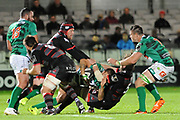 Ben Poolis pulls his man down during the Guinness Pro 14 2017_18 match between Edinburgh Rugby and Benetton Treviso at Myreside Stadium, Edinburgh, Scotland on 15 September 2017. Photo by Kevin Murray.