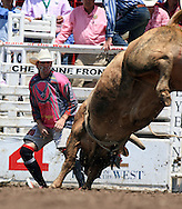 USAF Captain and Rodeo Bullfighter, Jeremy Sparks, 26 July 2007, Cheyenne Frontier Days