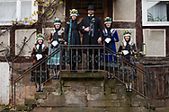 Nadine, member of the 'Trachtengruppe Wollmar' is wearing an original traditional bridal costume from Marburg (Marburger Tracht) in Wollmar, Hesse, Germany on November 12, 2016.<br />