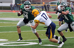 18 October 2014:  Artie Checchin tries to shake off Ben Fornek during an NCAA division 3 football game between the Augustana Vikings and the Illinois Wesleyan Titans in Tucci Stadium on Wilder Field, Bloomington IL