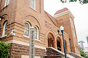 Scenes from 16th Street Baptist Church in downtown Birmingham, Alabama. In 1963, four girls were killed when a bomb under the church's side steps went off.