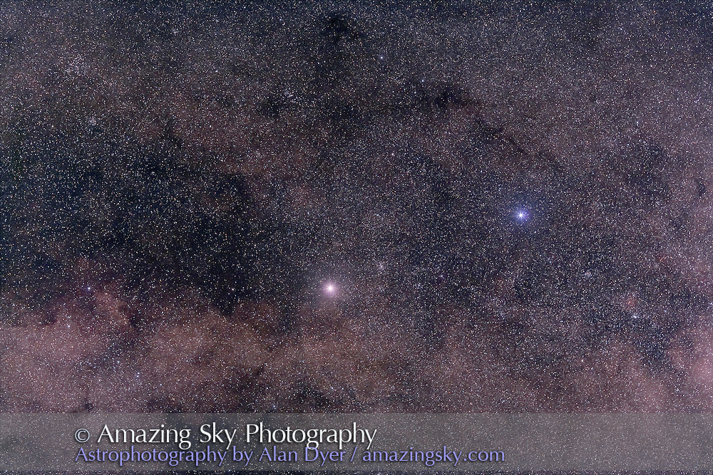 Alpha and Beta Centauri, with Hutech-modified Canon 5D camera with 135mm f/2 Canon L lens at f/4 for 4 minutes each at ISO400. Stack of 4 exposures, averaged stacked. Taken from Queensland, Australia, June 2006. Glow added around stars in Photoshop.