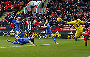 Diving header by Leeds United defender Pontus Jansson (18) saved by Sheffield United's Jamal Blackman during the EFL Sky Bet Championship match between Sheffield Utd and Leeds United at Bramall Lane, Sheffield, England on 10 February 2018. Picture by Paul Thompson.