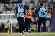 Alyssa Healy and Linsey Smith of Yorkshire Diamonds celebrate the wicket of Marie Kelly during the Women's Cricket Super League match between Southern Vipers and Yorkshire Diamonds at the Ageas Bowl, Southampton, United Kingdom on 21 August 2019.