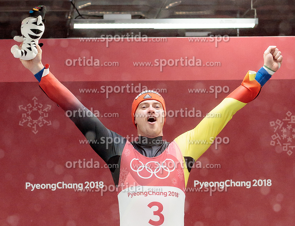 11.02.2018, Olympic Sliding Centre, Pyeongchang, KOR, PyeongChang 2018, Rodeln, Herren, flowers ceremony, im Bild Johannes Ludwig (GER, 3. Platz) // bronce medalist Johannes Ludwig of Germany during the flowers ceremony of the Men's Luge Singles competition at the Olympic Sliding Centre in Pyeongchang, South Korea on 2018/02/11. EXPA Pictures © 2018, PhotoCredit: EXPA/ Johann Groder