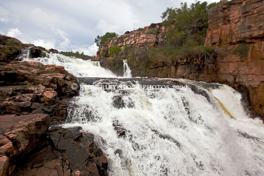 The upper falls at Ruby Falls in the Kimberley wet season.