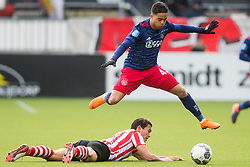 Kenneth Dougall of Sparta Rotterdam, Justin Kluivert of Ajax during the Dutch Eredivisie match between Sparta Rotterdam and Ajax Amsterdam at the Sparta stadium Het Kasteel on March 18, 2018 in Rotterdam, The Netherlands