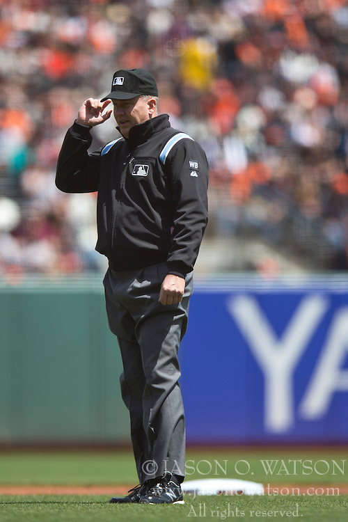 SAN FRANCISCO, CA - APRIL 26:  MLB umpire Jeff Nelson #45 stands at second base during the first inning between the San Francisco Giants and the Cleveland Indians at AT&T Park on April 26, 2014 in San Francisco, California. The San Francisco Giants defeated the Cleveland Indians 5-3.  (Photo by Jason O. Watson/Getty Images) *** Local Caption *** Jeff Nelson