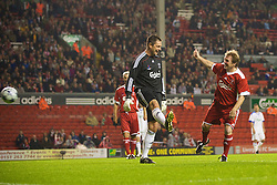 LIVERPOOL, ENGLAND - Thursday, May 14, 2009: Liverpool Legends' player/manager Kenny Dalglish scores a goal against All Star's goalkeeper Bobby Mimms during the Hillsborough Memorial Charity Game at Anfield. (Photo by David Rawcliffe/Propaganda)