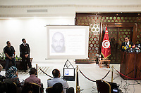 TUNIS, TUNISIA - 26 JULY 2013: A picture of Boubaker Al-Hakim, a 30 years old man suspected of assassinating opposition leader Mohamed Brahmi, is shown during a press conference at the Interior Ministry in Tunis, Tunisia, on July 26th 2013.<br /> <br /> Tunisia, birthplace of the Arab Spring revolutionary movement, was plunged into a new political crisis on Thursday when assassins shot Mohamed Brahmi, 58, leader of the Arab nationalist People's Party, an opposition party leader outside his home in a hail of gunfire.