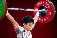 Kota Yomogi from Japan lifts in Snatch competition men's 56 kg Group B during weightlifting IWF World Championships Wroclaw 2013 at Centennial Hall in Wroclaw on October 21, 2013.<br /> <br /> Poland, Wroclaw, October 21, 2013<br /> <br /> Picture also available in RAW (NEF) or TIFF format on special request.<br /> <br /> For editorial use only. Any commercial or promotional use requires permission.<br /> <br /> Mandatory credit:<br /> Photo by © Adam Nurkiewicz / Mediasport